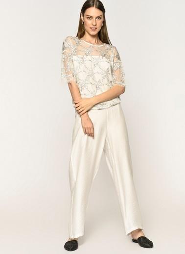 Loves You Beli Lastikli Bol Baharlık Pantolon Beyaz